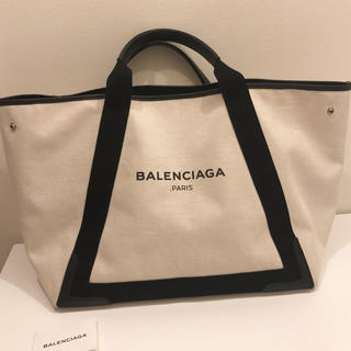 Balenciaga - BALENCIAGA ネイビーカバス キャンバストートバッグ アイボリー