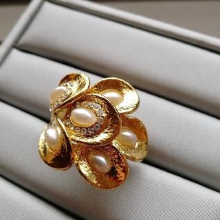 14.5号 パール×ゴールド 大振りリング アンティーク風 (リング(指輪))