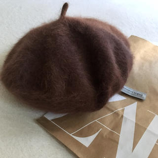 ZARA - ZARA アンゴラベレー帽ブラウン☺︎