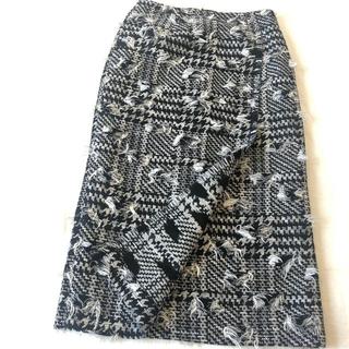 トゥモローランド(TOMORROWLAND)の美品 トゥモローランド DESPRES 千鳥格子ジャガード織 スカート(ひざ丈スカート)
