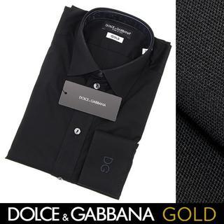 ドルチェアンドガッバーナ(DOLCE&GABBANA)のDOLCE&GABBANAブラック ドット柄 シャツ GOLD size41-D(シャツ)