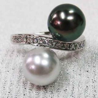 黒蝶&白真珠☆素敵なデザインリング☆K18WG製指輪☆ピカピカ逸品!!(リング(指輪))