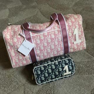 クリスチャンディオール(Christian Dior)の美品 ヴィンテージ ディオール ピンク トロッター  ボストン ハンド バック(ボストンバッグ)