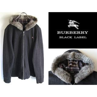 BURBERRY BLACK LABEL - 状態良好 バーバリーブラックレーベル 裏ノバチェック ラビットファーパーカー