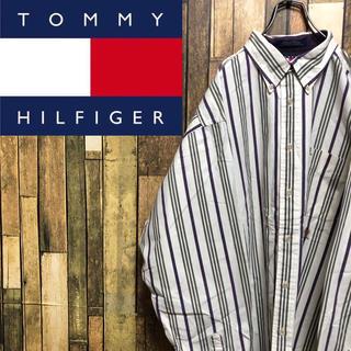 トミーヒルフィガー(TOMMY HILFIGER)の【激レア】トミーヒルフィガー☆刺繍ロゴ入りビッグマルチストライプシャツ 90s(シャツ)