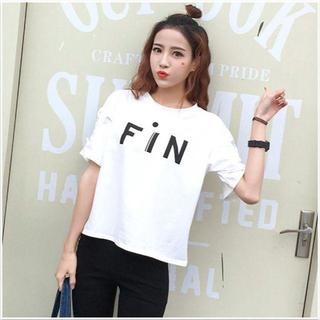 2XL(XLサイズ相当)ホワイト Tシャツ プリント 半袖 チュニック(Tシャツ(半袖/袖なし))