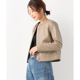 IENA - イエナ☆ノーカラーレザージャケット ベージュ