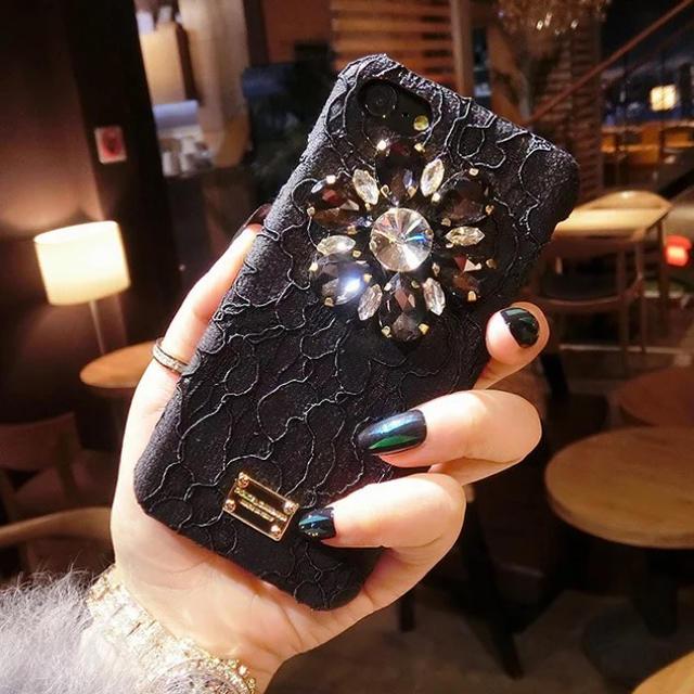 《即納☆おしゃれ》iPhoneX ブラック かわいい おしゃれ 秋冬 ビジューの通販