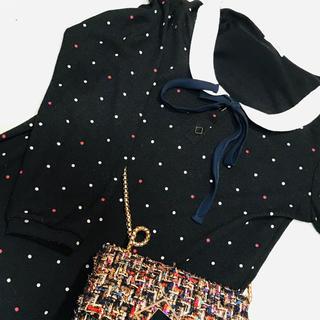 リリーブラウン(Lily Brown)の水玉ワンピース マルチカラー カラフル ブラック 黒スカート(ひざ丈ワンピース)