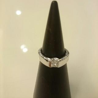 一粒 ダイヤモンド K18 ホワイトゴールド リング(リング(指輪))