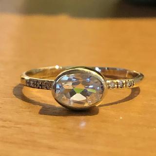 ホワイトトパーズ ダイヤモンドリングK10(リング(指輪))
