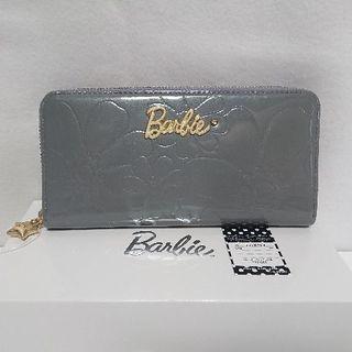 バービー(Barbie)の新品 バービー Barbie 長財布 グレー ジッパー エナメル 型押し(財布)