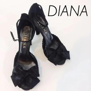 ダイアナ(DIANA)のダイアナ DIANA サンダル ヒール リボン ブラック サイズ21.5(サンダル)