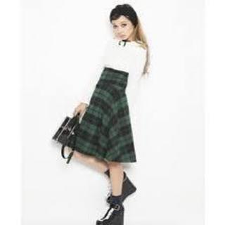 リルリリー(lilLilly)のハイウエストチェックスカート グリーン×ブラック(ひざ丈スカート)