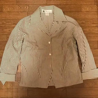LANVIN - ランバン lanvin ストライプ シャツ ジャケット 茶色
