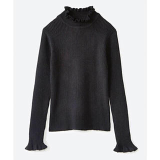 haco! - 【未使用】パッと着るだけでかわいくなれそうな気がするフリルリブニット 黒