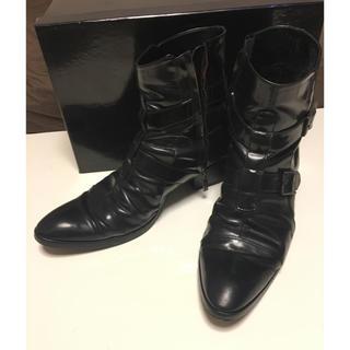 ガラアーベント(GalaabenD)のGalaabend ダブルベルトエナメルヒールブーツ黒 S 25~26cm(ブーツ)