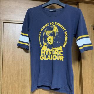 HYSTERIC GLAMOUR - ヒステリックグラマー 五分袖 Tシャツ ロゴ入り ネイビー