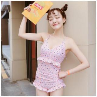 【XL】水着 ワンピース 花柄 リボン ピンク系 レディース 可愛い フリル (水着)