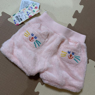 フタフタ(futafuta)の冬用ショートパンツ 70サイズ ピンク 猫 女の子 モコモコ 新品未使用(パンツ)