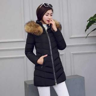 ファーフード付き 中綿コート ♡ ブラック【XL】(ダウンジャケット)