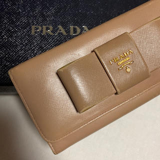プラダ(PRADA)のPRADA プラダ サフィアーノレザー 長財布 ベージュ(財布)