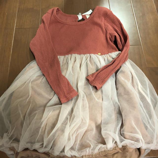 petit main(プティマイン)のプティマイン  テレコチュールドッキングワンピース  120 キッズ/ベビー/マタニティのキッズ服 女の子用(90cm~)(ワンピース)の商品写真
