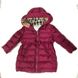 BURBERRY - バーバリー  ダウン コート アウター 防寒 92 2Y 女の子 赤 ピンク