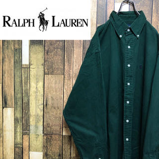 Ralph Lauren - 【激レア】ラルフローレン☆USA製ワンポイント刺繍ロゴビッグチノシャツ 90s