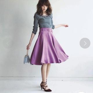 アプワイザーリッシェ(Apuweiser-riche)の【ゆうなさま専用】新品スエードフレアスカート♡ピンク(ひざ丈スカート)