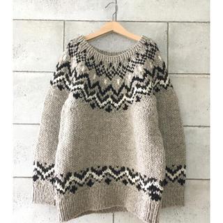シップス(SHIPS)のSHIPS カウチン羊毛ノルディック手編みニットkhagu(ニット/セーター)