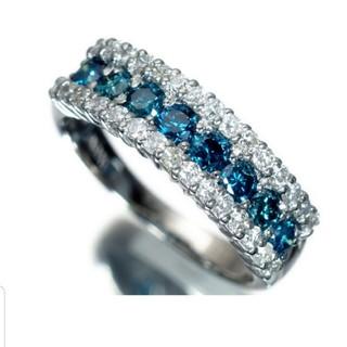 Pt900 ブルー&クリアダイヤ 1ctリング(リング(指輪))