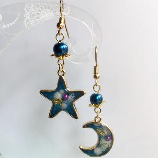 ブルーラメ 羽根 星と月 ピアス(ピアス)