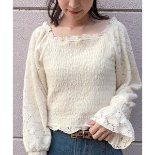 one after another NICE CLAUP - NICE CLAUP♡シャーリング起毛レースTOPS