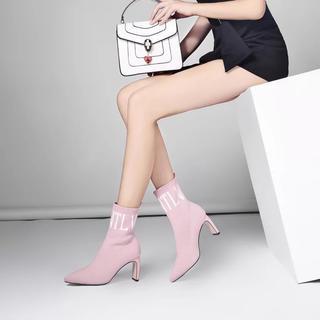♡ピンク♡ロゴソックスブーツ♡(ブーツ)