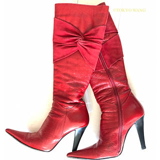 GiAnni ロング ブーツ ピンヒール 赤 リボン ファー(ブーツ)