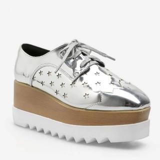 アディダスバイステラマッカートニー(adidas by Stella McCartney)の厚底 シルバー (ローファー/革靴)