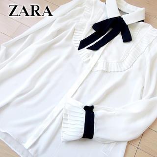 ZARA - 超美品 (EUR)S ザラ ZARA レディース リボン付ブラウス ホワイト