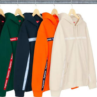 Supreme - Supreme Text Stripe Zip Up Hooded ボックスロゴ