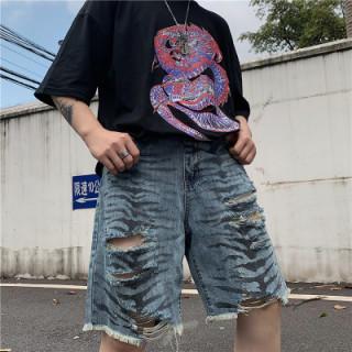 デニム ショーツ ハーフパンツ 半ズボン タイガープリント ストリート 海外(ショートパンツ)