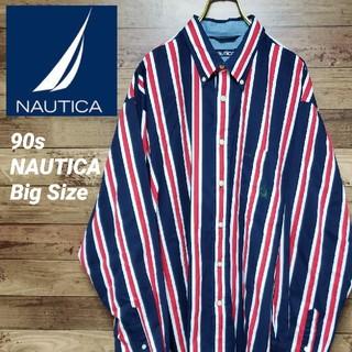 ノーティカ(NAUTICA)の《ビッグサイズ》ノーティカ NAUTICA 90s 刺繍ロゴ ストライプシャツ(シャツ)