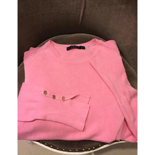 ザラ(ZARA)のzara  お袖ボタン ベーシックニット ピンク (ニット/セーター)