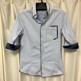 セマンティックデザイン(semantic design)のシャツ S チェック ストライプ メンズ スリムシャツ ブルー 七分丈(シャツ)