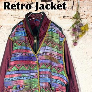 サンタモニカ(Santa Monica)の派手&レトロ vintage ナイロンジャケット ジャンパー EAST WEST(ブルゾン)