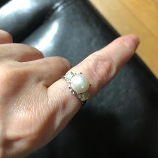 PT900真珠パールリングホワイトピンク系ダイヤモンド(リング(指輪))
