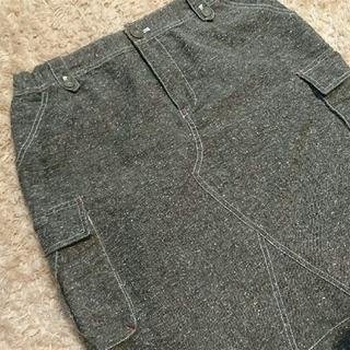 ママイクコ(MAMAIKUKO)の美品ママイクコ 膝丈台形スカート 杢ブラウン 茶色 M(ひざ丈スカート)