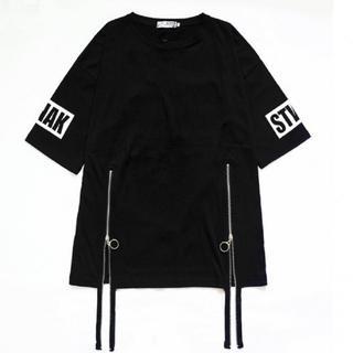 新品☆ Tシャツ シャツ ロゴT トレンド ストラップ カジュアル ストリート