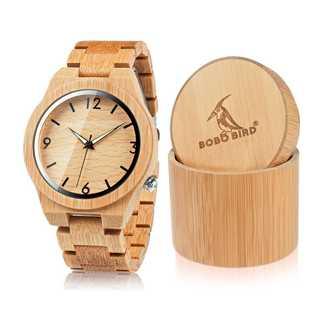 BOBO BIRDメンズ竹木製腕時計数字スケールクォーツ