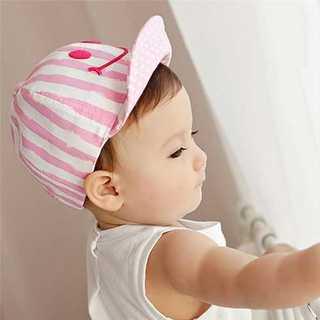 かわいい キャップ ベビー キッズ スマイル ストライプ 帽子 かわいい ピンク