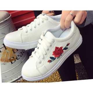 花柄 スニーカー ホワイト 白 刺繍 レディース おしゃれ 靴 シューズ